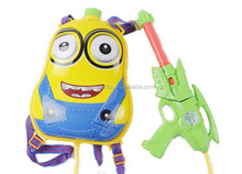 Yiwu manufacturer minions cartoon water gun toys,pvc plastic water gun with backpack for kids/child
