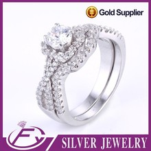 Top selling cubic zircon 925 sterling silver large stone rings