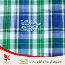 100% cotton Mint green and blue large check t-shirt fabric