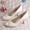Plain Ivory Wedding Shoes Wholesale Mid-Heel