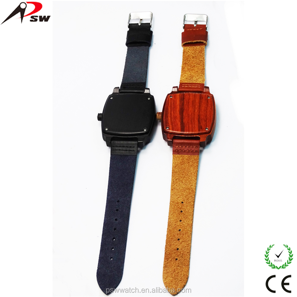 Black leather square shape wood watches, bamboo wood watches