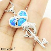 "Creative Silver 925 Heart Fire Blue Australian Opal Key Dolphin Design Women Magnetic Pendant FREE SHIPPING1 1/2"""