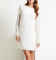 Custom design long sleeve lady frocks white wholesale polyester lace dress