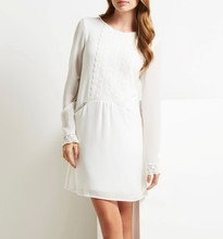 Custom design long sleeve lady frocks white wholesale polyester lace dress