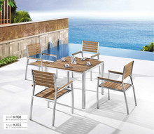 Used teak dining table with metal legs outdoor furniture