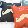 Romantic love couple mustache pillow and embroidered new design cushion cover