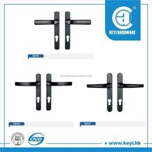 black door handle on plate upvc lock lever front