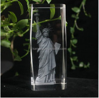 Art craft Liberty of statue 3d laser crystal cube
