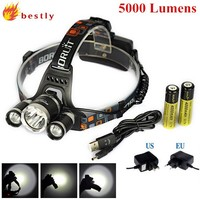 High Power Camping Hunting Rechargeable 5000 Lumens Led Headlamp Head Light