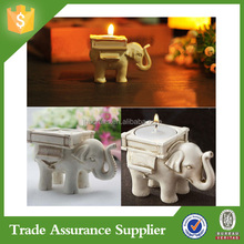 Cute Lucky Resin Ivory Elephant Tea Light Candle Holder Wedding Home Party Decor