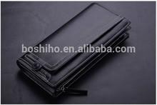 Men zipper ID coin holder clutch wallet long purse men genuine leather wallet