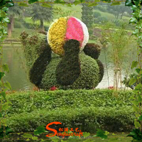 Home Designs Artificial Plant Vertical Garden with panda Topiary