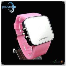 Magic Hidden Touch Screen pink LED digital watch women wide ribbon watch bands