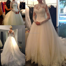 2015 Ball Gown Pattern Bridal Marriage Online Shop MM-1612 Custom Made One Piece High Neck Long Sleeves Designer Wedding Dress