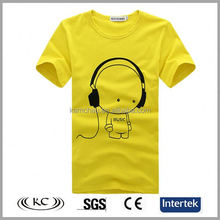 high quality popular 100% cotton woman yellow music t shirts online