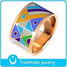 TKB-R0295 Best quality new arrival shiny fashion jewelry house design rose gold stainless steel enamel rings for women