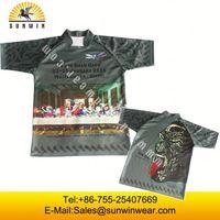 Customized high quality fashion casual plain long sleeve mens stripe cheap rugby shirts