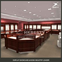 Royal luxury cherry wood wall cabinet units and jewelry kiosk for mall