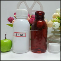 2015 New 100ml Medicine Brown Plastic Bottles with lid , Round Amber PET Cough Syrup Bottle Wholesale from JEAO