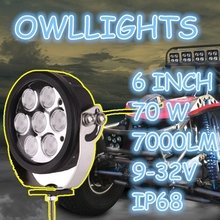 GuangDong Auto Parts High Power 6inch round LED Work light 70W LED Driving Light 4X4 offroad for SUV,ATV,4WD,Jeep,Truck
