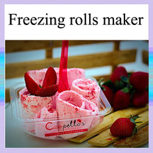 2015 new design double pan with the cooling barrels for making the ice cream roll, mix, ice dessert