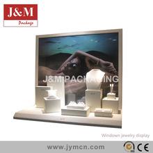 elegant gemstone display showcase with art painting backboard for jewelry window cases