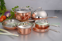 Zhejiang copper cookware set dinner set triply copper pot with induction