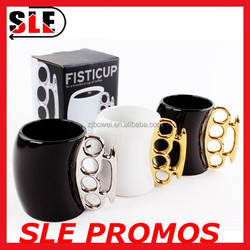 Best Choice 2015 Design Fist Cup Brass Knuckle Duster Handle Coffee Milk Ceramic Fist Mug Cup Cool Gift