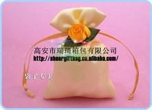 small mini cosmetic gift drawstring satin bag with sheer rose decoration