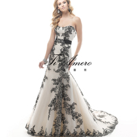 2015 Picture of Latest Gown Designs Wedding Evening Dresses/Appliqued Black Strapless Girls Party's Wedding Dresses France/Paris