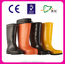 Wholesale trendy pure black cheap safety gumboots and various safety boots are optional