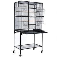 Bird Parrot Cage With Separate Cage Stand Chinchilla Sugar Glider Cockatiel Supplies Color Hammer Tone Black