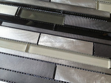 gray black silver strip crystal aluminum mosaic modern house design