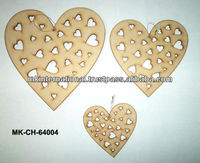 Heart Shaped Wooden Christmas Ornaments
