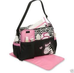 Babyboom Pink Zebra Girls diaper duffle bag Baby Boom Tote spacious organize