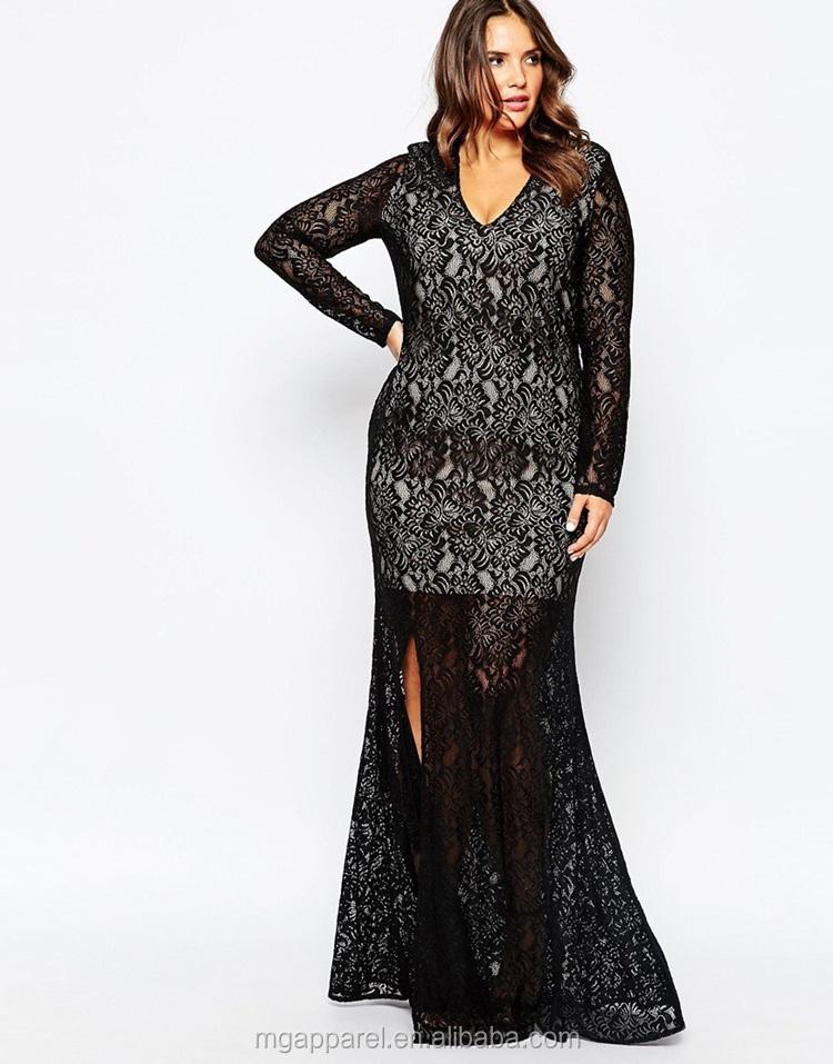 Wholesale Fashionable Dress For Fat Women,Black Lace Long Sleeve ...