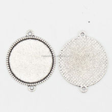 RS-1114Y New Arrival silver jewelry fitting wholesale blank pendant necklace, Double holes ring blank with 25mm pad cameo tray