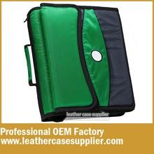 Custom Green 3 Ring zipper binder