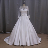 jacket a line german swetheart beaded satin wedding dress 2015
