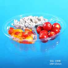 round clear disposable plastic fruit packaging tray with three cells
