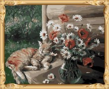 GX600 diy picture by numbers cat and flower modern painting for home decor