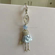 Creative Korean princess crystal alloy long key chains jewelry lovely dresses exquisite girl pendant keychain
