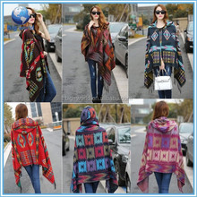 Woven Blanket Cobalt/Winter Tribal Aztec Sweater Cardigan Hooded cashmere Knitted Poncho