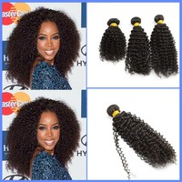 3 Pieces A Lot Natural Black Kinky Curly Hair Weft 6A High Quality 100% Peruvian Virgin Hair Extension Free Shipping