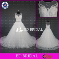 CE791 2015 New Manufacture Real Sample Stunning Beaded Tulle A Line Wedding Gown