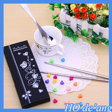 Hogift factory outlets creative wedding favor gift chopsticks spoon stainless steel cutlery sets MHo-86