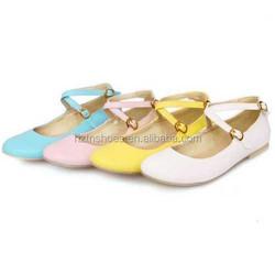 2014 Women's ballerina shoes single shoes candy color flat ballet shoes cross buckle strap casual shoes