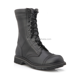 action leather military boots /black long tongue with black speed shoes lace