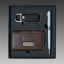2015 leather business card holder pen gift set with black gift box packing