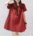 Las 2015 mujeres de la ropa, verano, corea, para mujer de algodón sueltos código de impresión vestido corto de la manga